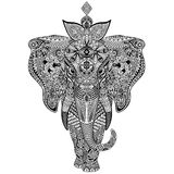 Elephant Zentangle Doodle Art Stock Images