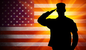 saluting army soldier on american flag background, disabled veteran employment rights